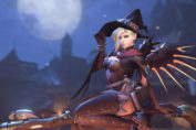 Mercy dressed as a witch for Halloween