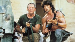 Colonel Trautman mentors Rambo while they fight in Afghanistan, Rambo III